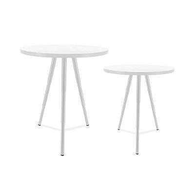Mesa De Canto Dupla Lévis - Branco/Branco