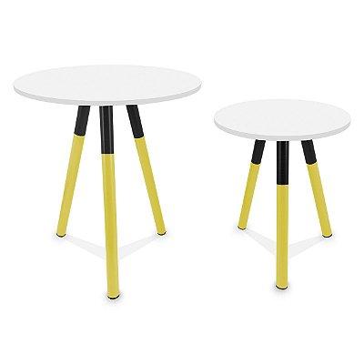 Mesa de Canto Dupla Houston - Amarelo/Branco