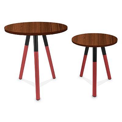 Mesa de Canto Dupla Houston - Vermelho/Villandry