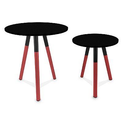 Mesa de Canto Dupla Houston - Vermelho/Preto