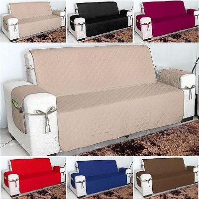 Protetor De Sofá 03 Lugares Microfibra 100gr Com Laços