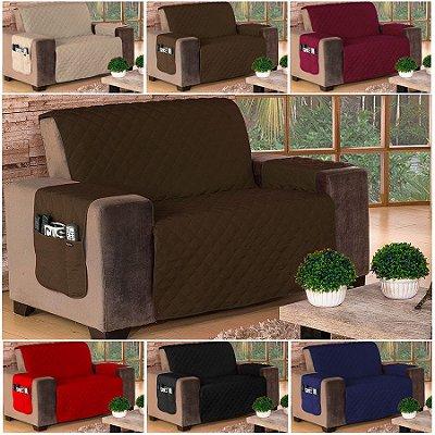 Protetor de Sofá de 02 Lugares em Microfibra Com Porta Objetos