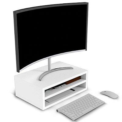 Suporte para Monitor de Mesa com Duas Divisórias Mdf - Branco