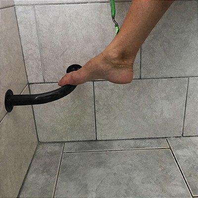 Barra de Apoio de Banheiro para Lavar os Pés e Depilar - Preto