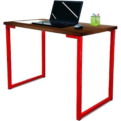 Mesa para Escritório Escrivaninha Estilo Industrial Nova York Mdf 120cm - Vermelho e Villandry