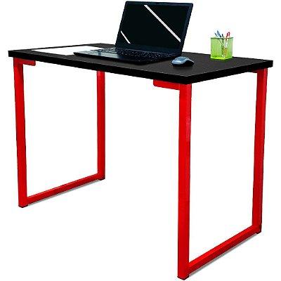 Mesa para Escritório Escrivaninha Estilo Industrial Nova York Mdf 120cm - Vermelho e Preto