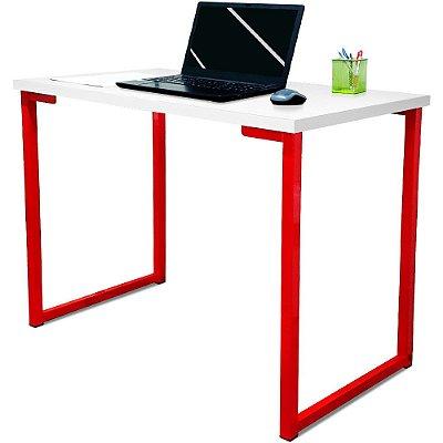 Mesa para Escritório Escrivaninha Estilo Industrial Nova York Mdf 120cm - Vermelho e Branco