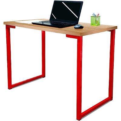 Mesa para Escritório Escrivaninha Estilo Industrial Nova York Mdf 120cm - Vermelho e Jade