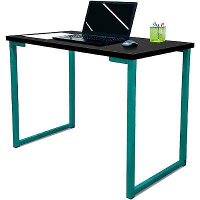 Mesa para Escritório Escrivaninha Estilo Industrial Nova York Mdf 120cm - Verde e Preto