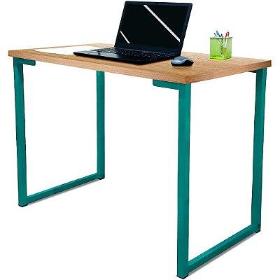 Mesa para Escritório Escrivaninha Estilo Industrial Nova York Mdf 120cm - Verde e Jade