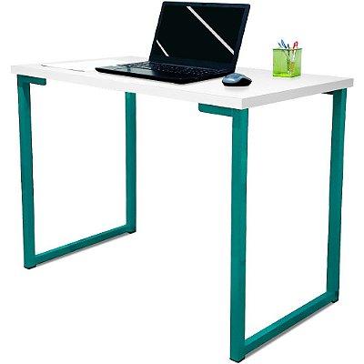 Mesa para Escritório Escrivaninha Estilo Industrial Nova York Mdf 120cm - Verde e Branco
