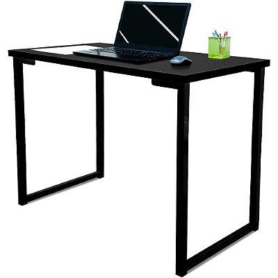 Mesa para Escritório Escrivaninha Estilo Industrial Nova York Mdf 120cm - Preta e Preta