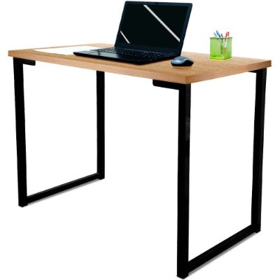 Mesa para Escritório Escrivaninha Estilo Industrial Nova York Mdf 120cm - Preta e Jade