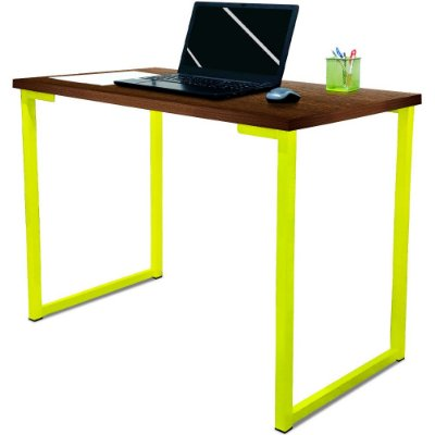 Mesa para Escritório Escrivaninha Estilo Industrial Nova York Mdf 120cm - Amarelo e Villandry
