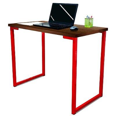 Mesa para Escritório Escrivaninha Estilo Industrial Nova York Mdf 100cm - Vermelho e Villandry