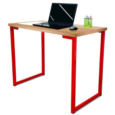Mesa para Escritório Escrivaninha Estilo Industrial Nova York Mdf 100cm - Vermelho e Jade