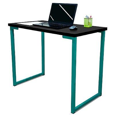 Mesa para Escritório Escrivaninha Estilo Industrial Nova York Mdf 100cm - Verde e Preto