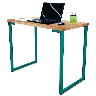 Mesa para Escritório Escrivaninha Estilo Industrial Nova York Mdf 100cm - Verde e Jade