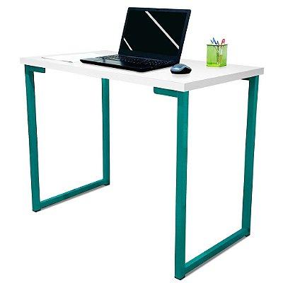 Mesa para Escritório Escrivaninha Estilo Industrial Nova York Mdf 100cm - Verde e Branca