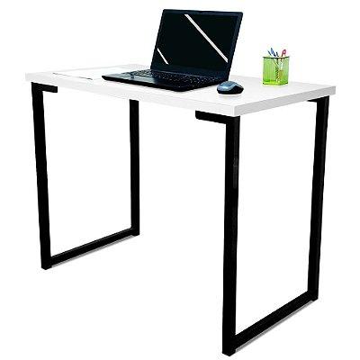 Mesa para Escritório Escrivaninha Estilo Industrial Nova York Mdf 100cm - Preta e Branca