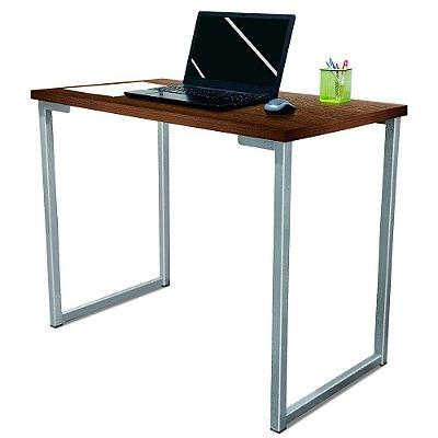 Mesa para Escritório Escrivaninha Estilo Industrial Nova York Mdf 100cm - Prata e Villandry