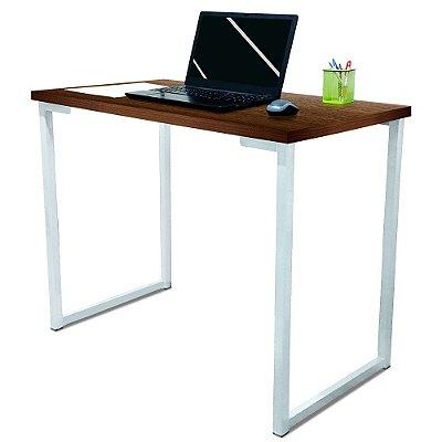 Mesa para Escritório Escrivaninha Estilo Industrial Nova York Mdf 100cm - Branca e Villandry