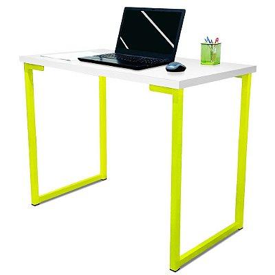 Mesa para Escritório Escrivaninha Estilo Industrial Nova York Mdf 100cm - Amarelo e Branco