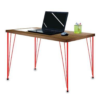 Mesa para Escritório Escrivaninha Estilo Industrial Noruega Mdf 120cm Vermelho e Villandry