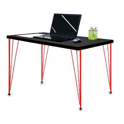 Mesa para Escritório Escrivaninha Estilo Industrial Noruega Mdf 120cm Vermelho e Preto