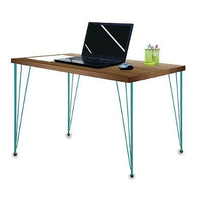 Mesa para Escritório Escrivaninha Estilo Industrial Noruega Mdf 120cm Verde e Villandry