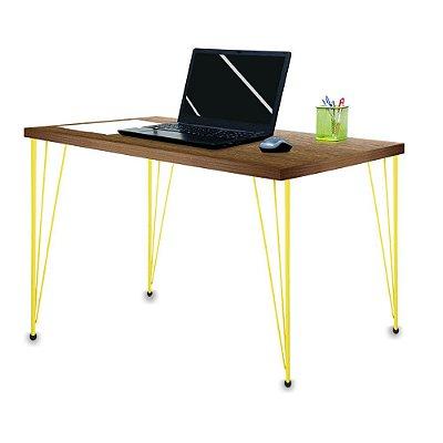 Mesa para Escritório Escrivaninha Estilo Industrial Noruega Mdf 120cm Amarelo e Villandry