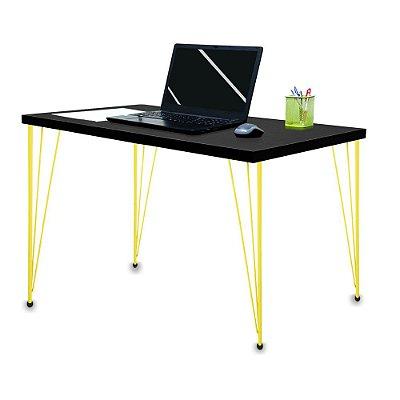 Mesa para Escritório Escrivaninha Estilo Industrial Noruega Mdf 100cm Amarelo e Preto