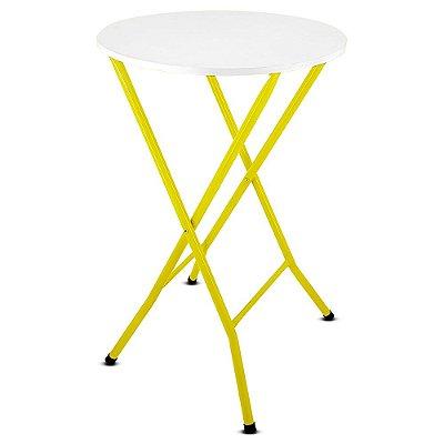 Mesa Bistrô Alta Dobrável Miami para Cozinha Bar com Tampo MDF - Amarelo e Branco