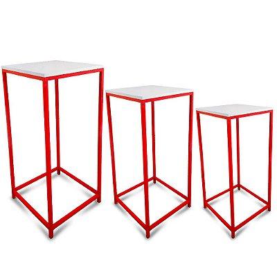 Conjunto Mesa de Canto Genebra - Vermelha com Tampo Branca