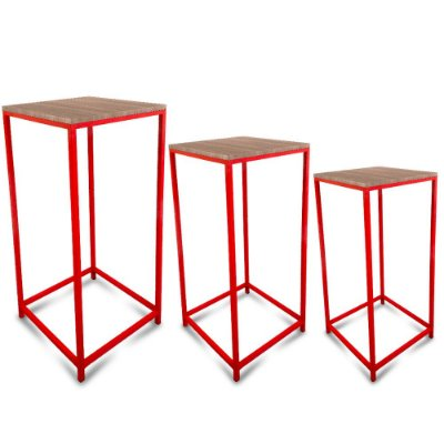Conjunto Mesa de Canto Genebra - Vermelha com Tampo Jade