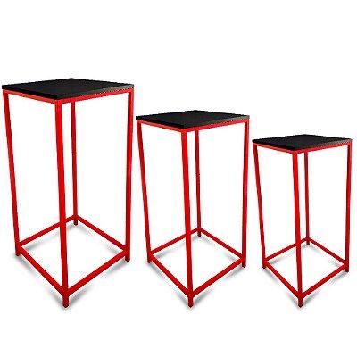 Conjunto Mesa de Canto Genebra - Vermelha com Tampo Preto