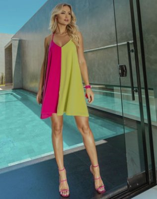 Vestido Trapézio Lima e Pink