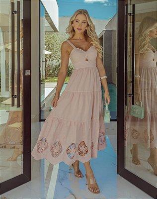 Vestido Midi de Cambraia Rosê