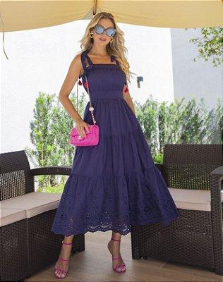 Vestido Midi Cambraia Azul Marinho