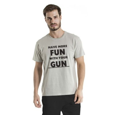 Camiseta Estonada Have More Fun Cinza