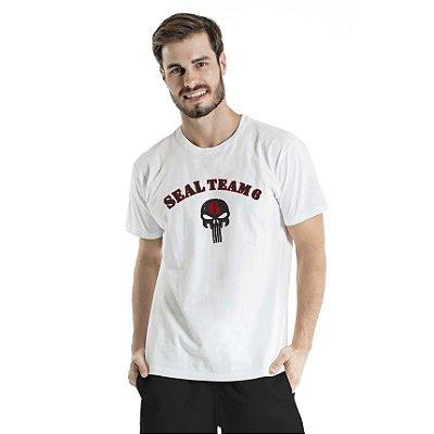 Camiseta Estonada Seal Team 6 Branca