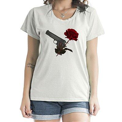 Baby Look Feminina Romantic Gun Cinza