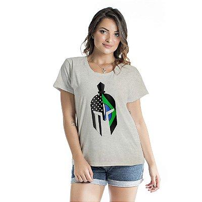 Baby Look Feminina Green Gladiator Mask Cinza