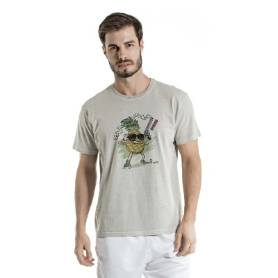 Camiseta Estonada Pineapple Cinza