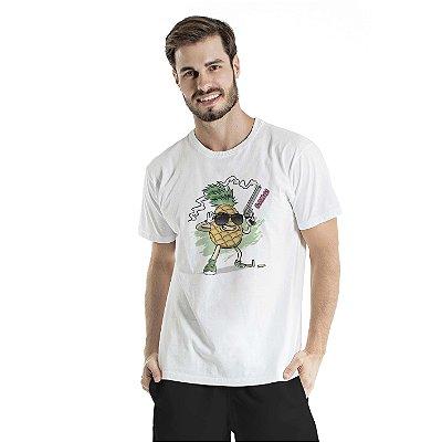 Camiseta Estonada Pineapple Atirador Branca
