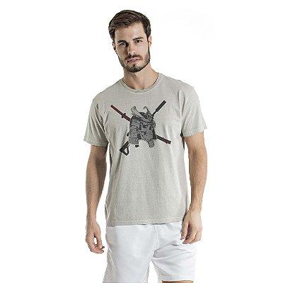 Camiseta Estonada Caveira Cinza