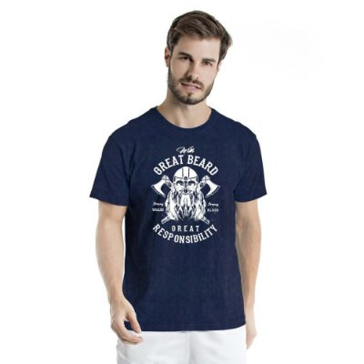 Camiseta Estonada Great Beard Marinho Sky