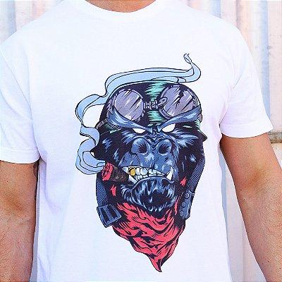 Camiseta Estonada Branca Gorila