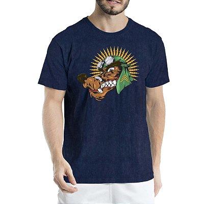 Camiseta Estonada Marinho Sky Lobo com Cocar de Munição