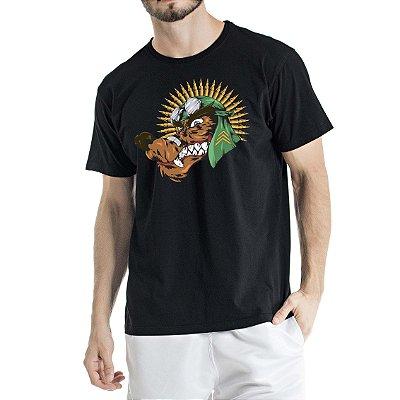 Camiseta Estonada Preta Lobo com Cocar de Munição